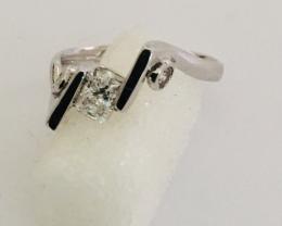 White Gold ring 18 kt with diamonds and radium