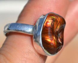 Fantastic Fire Agate in Sterling Silver Ring