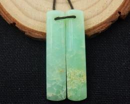 Sale 29cts Natural chrysoprase gemstone earring pairs semi-gem C865