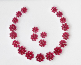 Natural Fine Ruby Cab Jewel Set - Necklace - Earring Set - African Ruby