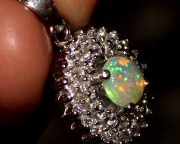 Natural Ethiopian Welo Fire Opal 925 Silver Pendant 2