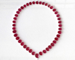 Captivating Ruby Necklace Gem set - African Ruby Oval - Fine matched Ruby