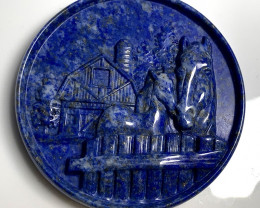Fine Carved Horse and Foal Cameo Focal Pendant Lapis Lazuli 260.00cts