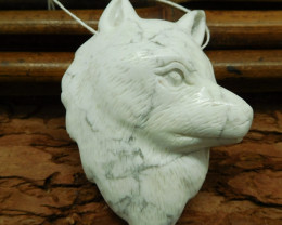 Natural howlite carving gemstone dog pendnant bead (G0467)