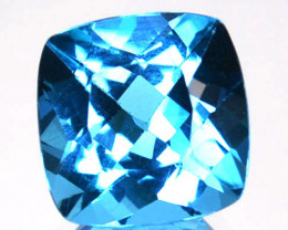 ~EXCELLENT~ 2.83 Cts Natural Swiss Blue Topaz 8 mm Cushion Cut Brazil