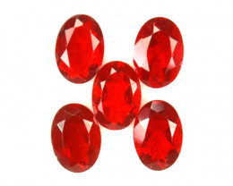 ~FIERY RED~ 1.25 Cts Natural Mexican Fire Opal 5x4 mm Oval Cut 5 Pcs