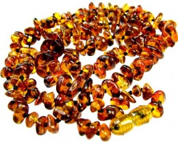 AMBER BALTIC BEAD STRAND  -110 CTS [MX2189 ]