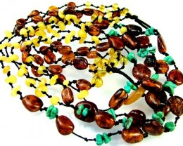 AMBER BALTIC BEAD 4 STRAND /  TURQUOISE- 120 CTS [MX2205 ]