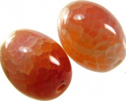 CARNELIAN BARREL BEADS CRACKED 69.8 CTS -[ST4295 ]