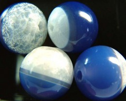 AGATE BEADS-BLUE WHITE 14MM BEADS 75.4 CTS [MX2329 ]