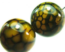 AGATE-CRAZY NATURAL BEADS-IDEAL EARRINGS 36CTS [ST309]