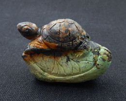 Turquoise Gemstone Turtle Carved Ornament 47x32x19mm H6329
