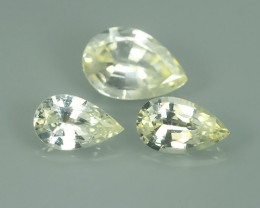 GENUINE NATURAL ULTRA RARE COLLECTION PEAR SOFT YELLOW & WHITE SAPPHIRE~