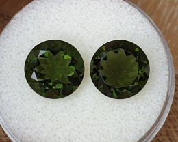 7.36ct Moldavite pair - Natural faceted Tektite!