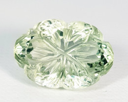 """6.80 ct """" Top Quality Gem """" Oval Natural Flower Cut Green Amethyst"""