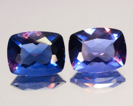 ~PAIR~ 4.39 Cts Natural Color Change Fluorite 9x7 mm Cushion Cut Afghanista