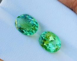 4.45 Ct Natural Greenish Transparent Oval cut Tourmaline Gemstones Pairs