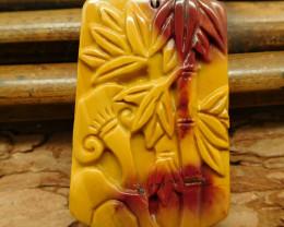 Gemstone mookaite jasper carved bamboo pendant (G0482)