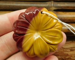 Mookaite jasper carving flower pendant (G0483)