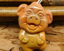 Natural gemstone mookiate jasper carving pig pendant (G0484)