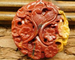 Mookaite jasper carved flower magpie pendant (G0487)