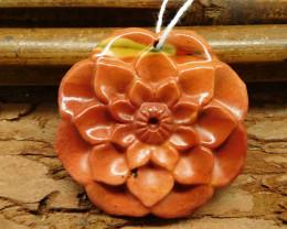 Flower pendant mookaite jasper carving flower (G0488)