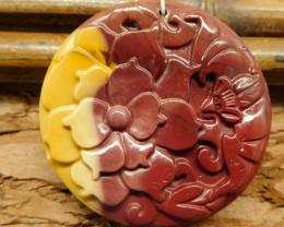 Mookaite  jasper carving flower pendant butterfly (G0489)
