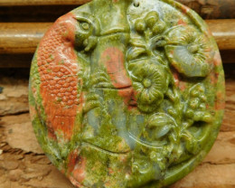 Unakite jasper carved parrot and flower pendant (G0493)