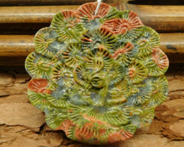 Unakite jasper carved peacock pendant for jewelry making (G0494)