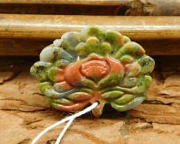 Unakite jasper carved flower pendant (G0496)