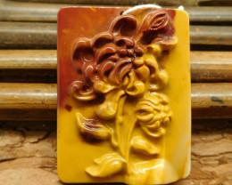 Mookaite jasper carved flower pendant (G0505)