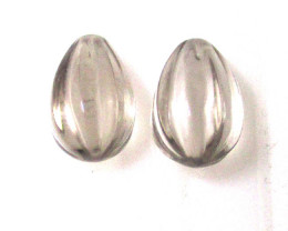 9.16cts Matching Smokey Quartz flutted Drop with Drilled Top
