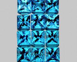 3.50 mm Square Princess Cut 12 pcs 2.84cts Swiss Blue Topaz [VVS]