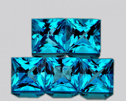 4.20 mm Square Princess Cut 5 pcs 2.25cts Swiss Blue Topaz [VVS]