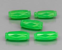 Cylinder 12x4.5mm.Genuine Natural Green Jadeite Jade MaeSai,Thai 5Pcs/12.04