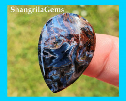 30mm Pietersite Red blue drop pear cabochon 30 by 21 by 4mm 20cts