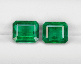 Pair of Emeralds, 5.86ct - Mined in Zambia | Certified by GRS