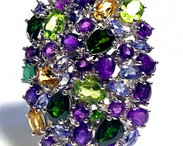 For Hugh 'The Violet Garden' Tanzanite Amethyst Peridot Chrome Diopside Rin