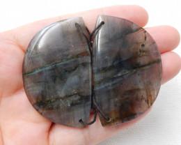 Natural Labradorite Drilled Earrings Bead, stone for earrings making C915