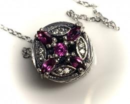 Pink Rhodolite Garnet Pendant (on Chain) Sterling Silver No Reserve