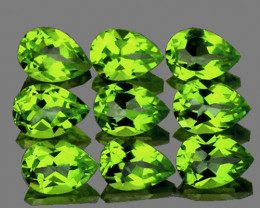 6x4 mm Pear 9 pcs 4.08cts Green Peridot [VVS]