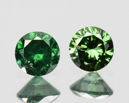 ~PAIR~ 0.07 Cts Natural Green Diamond Round Africa