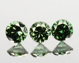 ~SET~ 0.16 Cts Natural Green Diamond 3 Pcs Round Africa