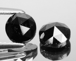1.73 Cts Natural Coal Black Diamond Round 2 Pcs Rose Cut Africa
