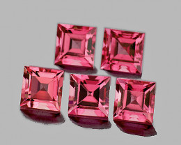 4.00 mm Square 5 pcs 1.83cts Orange Pink Tourmaline [VVS]