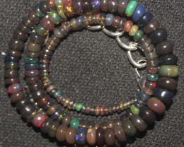 37 Crts Natural Ethiopian Welo Smoked Opal Beads Necklace 106