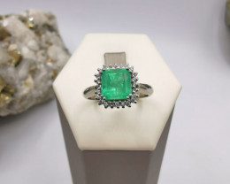 1,51ct Colombian Emerald 18k Solid Gold Ring Colombian Natural Emerald Colo