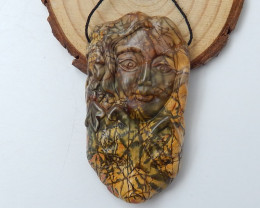 New design Multi-Color Picasso jasper Carved Gemstone Pendant Bead C921