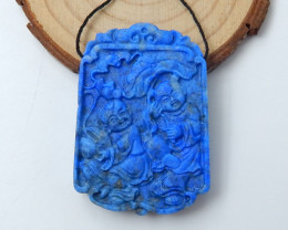 Hand Carved Natural Lapis Lazuli Astract Pendant Bead ,Wholesale Jewelry C9