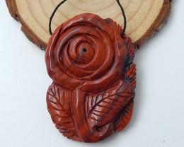 Flower pendant red river jasper carving flower C925